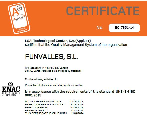 ISO 9001 FUNVALLES 2021